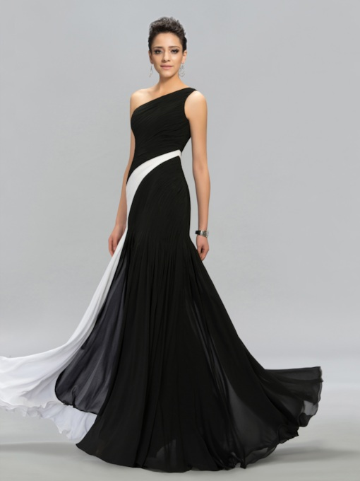 Contrast Color One Shoulder Pleats Evening Dress