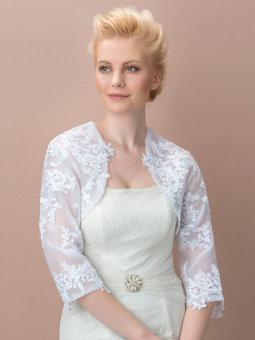 3/4 Length Sleeve Appliqued Lace Wedding Jacket