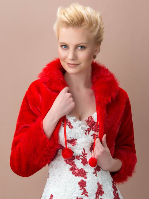 Red Lady's Faux Fur Wedding/Evening Jacket