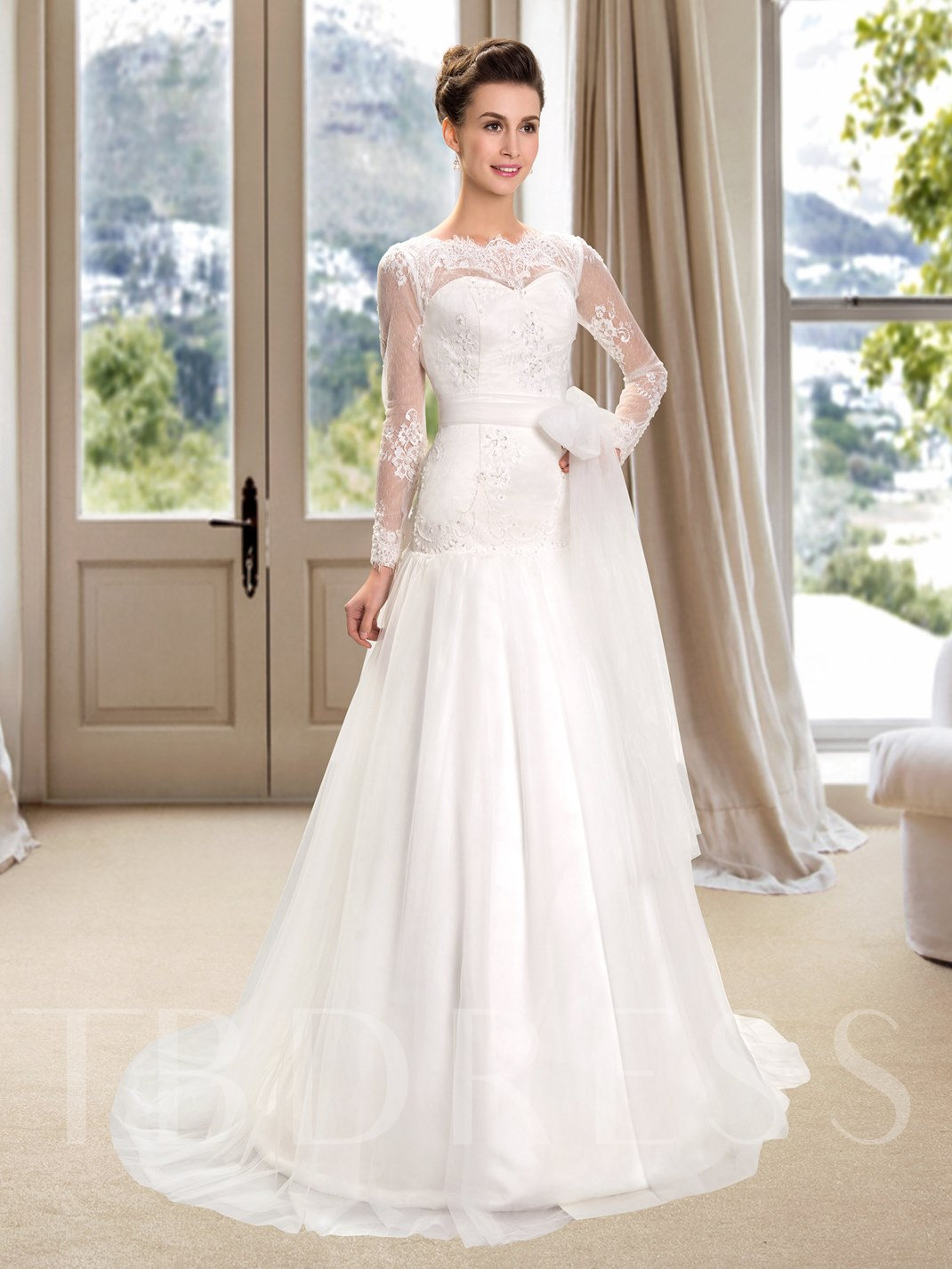 Bateau Lace Long Sleeves Mermaid Trumpet Wedding Dress