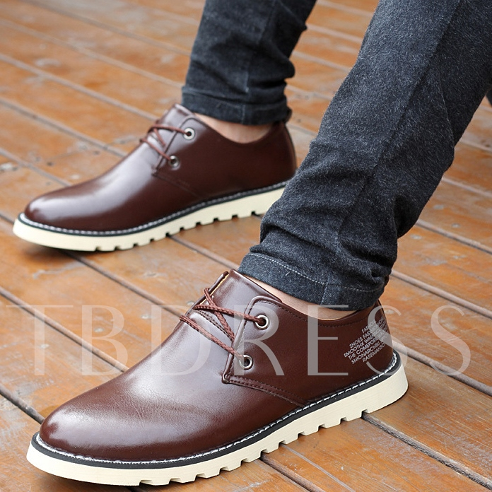 PU Plain-Toe Lace-Up Men's Derbies