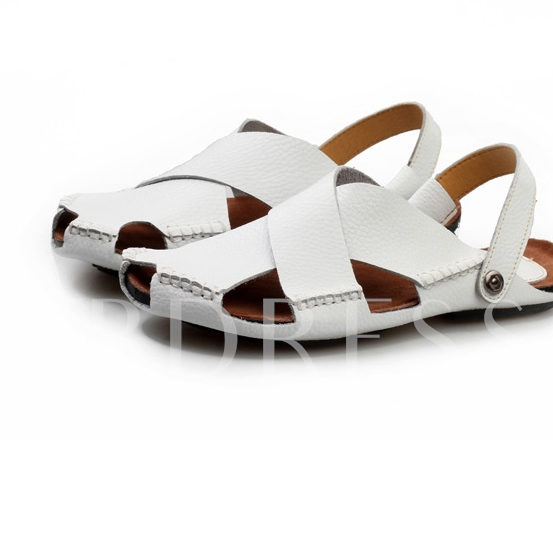 Round Toe Flat Heel Cross Buckle Men's Sandals