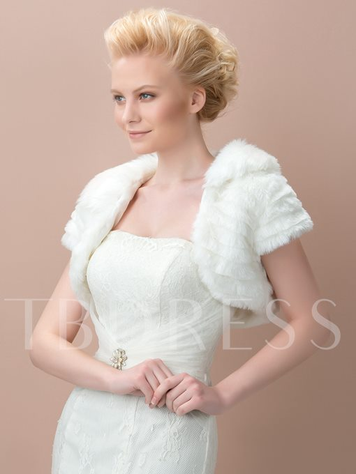 Short Faux Fur Bridal Wedding Jacket