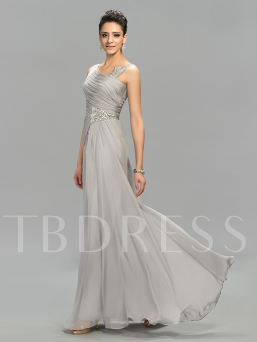 Straps Beading Zipper-Up A-Line Floor-Length Evening Dress