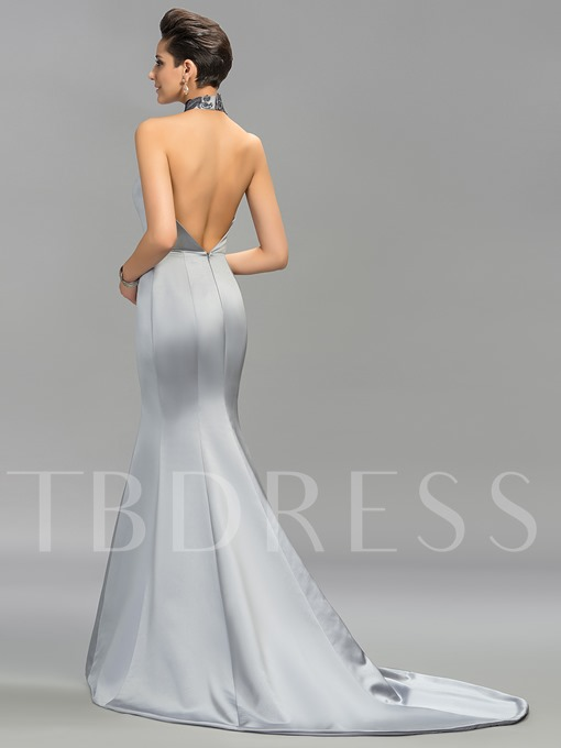 Halter Mermaid Embroidery Backless Evening Dress