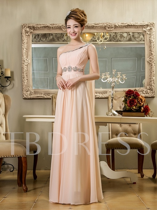 A-Line One Shoulder Empire Ruched Bridesmaid Dress