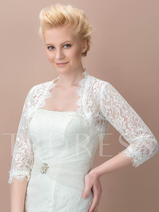 Lace 3/4 Length Sleeve Wedding Jacket