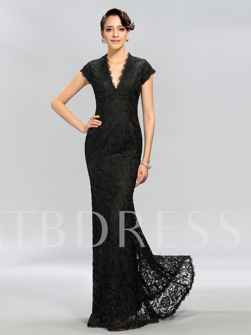 Trumpet V-Neck Cap Sleeves Lace Long Evening Dress