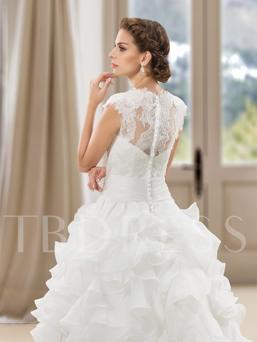 Lace Appliques Tiered Beading Button Jewel Wedding Dress