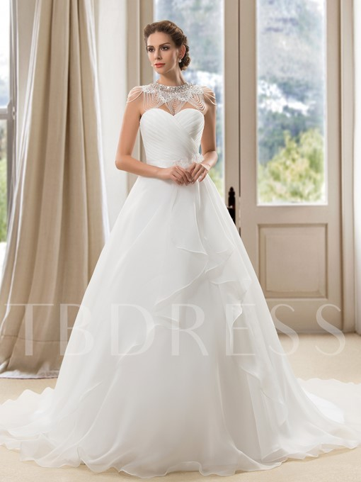 A-Line Sweetheart Tiered Ruched Wedding Dress