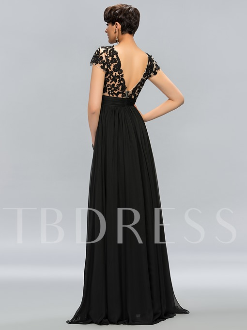 Tulle Neckline Appliques Short Sleeves Evening Dress