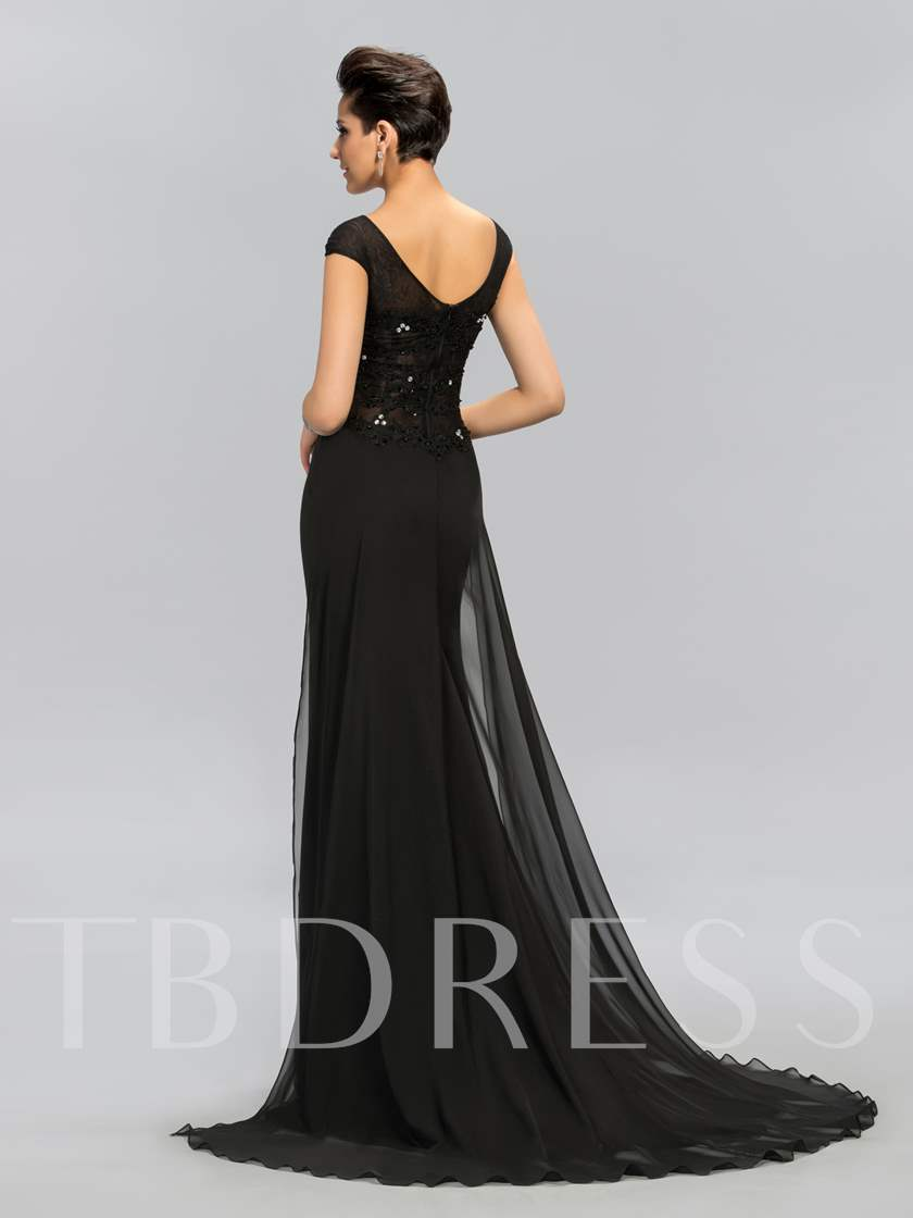 Sheath Lace Bateau Cap Sleeves Evening Dress
