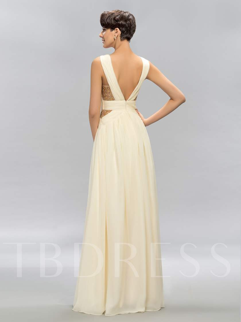 V-Neck Tulle Beadings Prom Dress