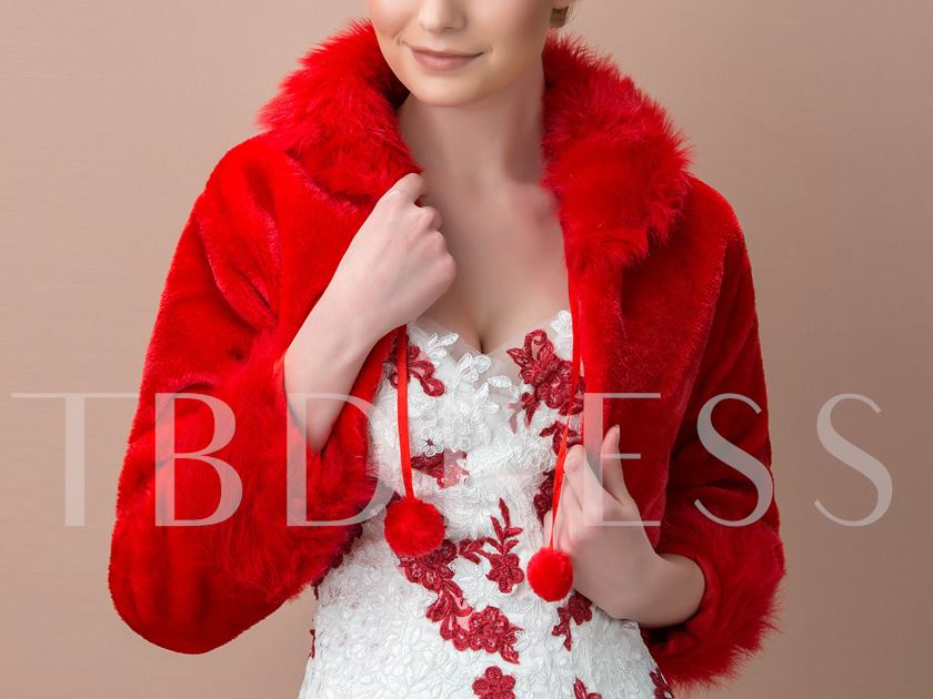 Red Lady's Faux Fur Wedding Jacket