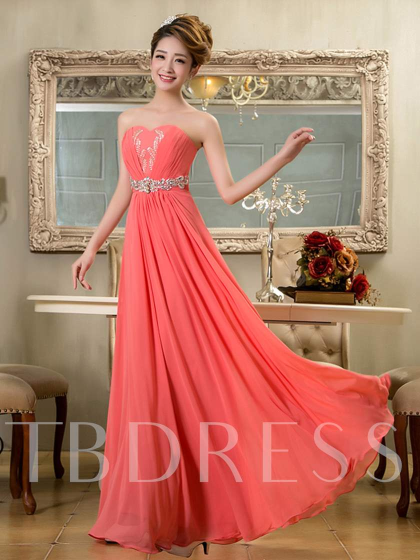 A-Line Strapless Beading Long Bridesmaid Dress