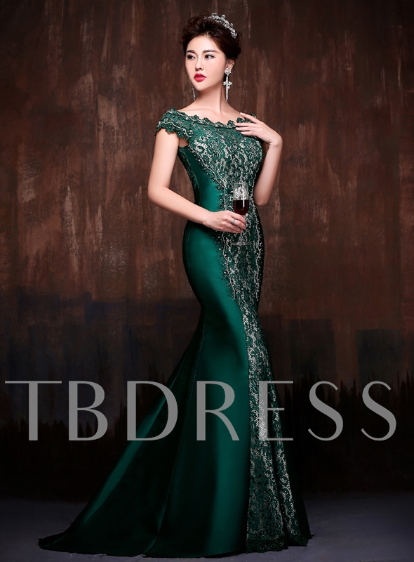 Mermaid Beaded Lace Off-the-Shoulder Court Train Evening Dress