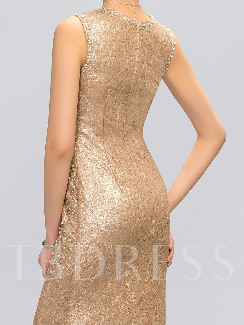 Round-Neck Sleeveless Sheath Floor-Length Evening Dress