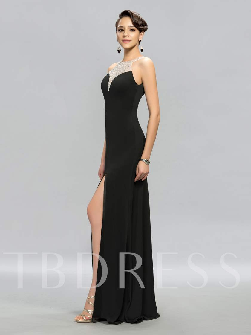 Beadings Floor-Length Side-Split Evening Dress