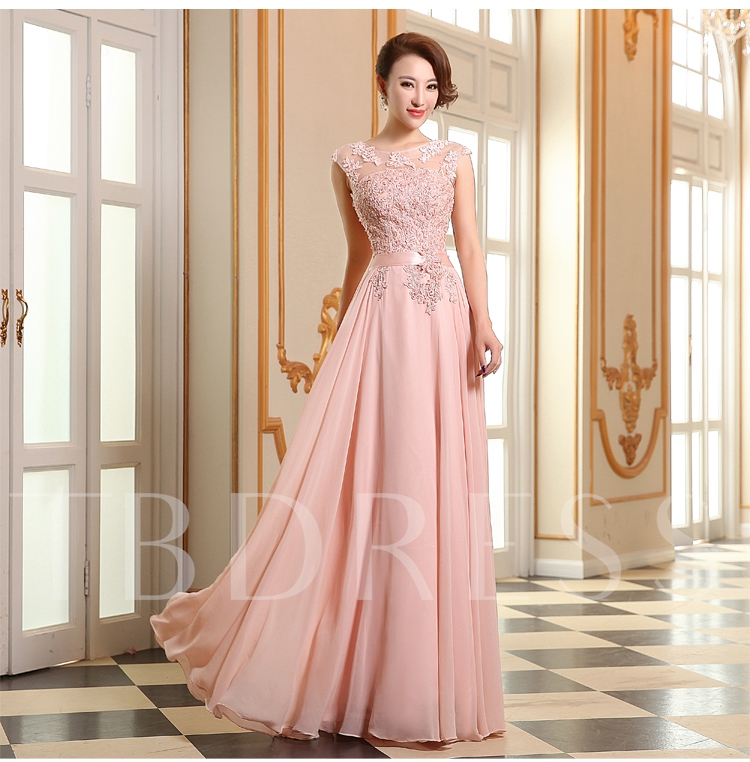 Beading Appliques Lace-Up A-Line Floor Length Evening Dress