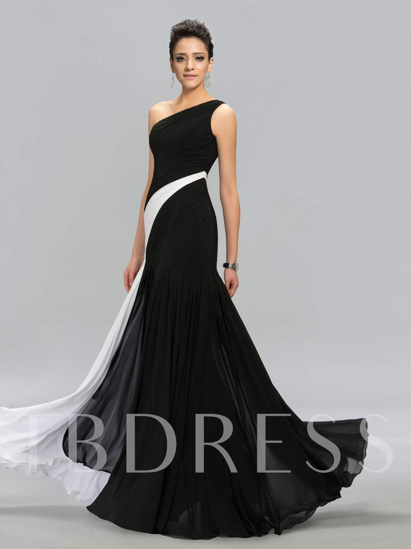 Ruched Contrast Color One-Shoulder A-line Floor-Length Evening Dress ...