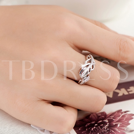 Feather Shaped 925 Sterling Silver Women's Ring