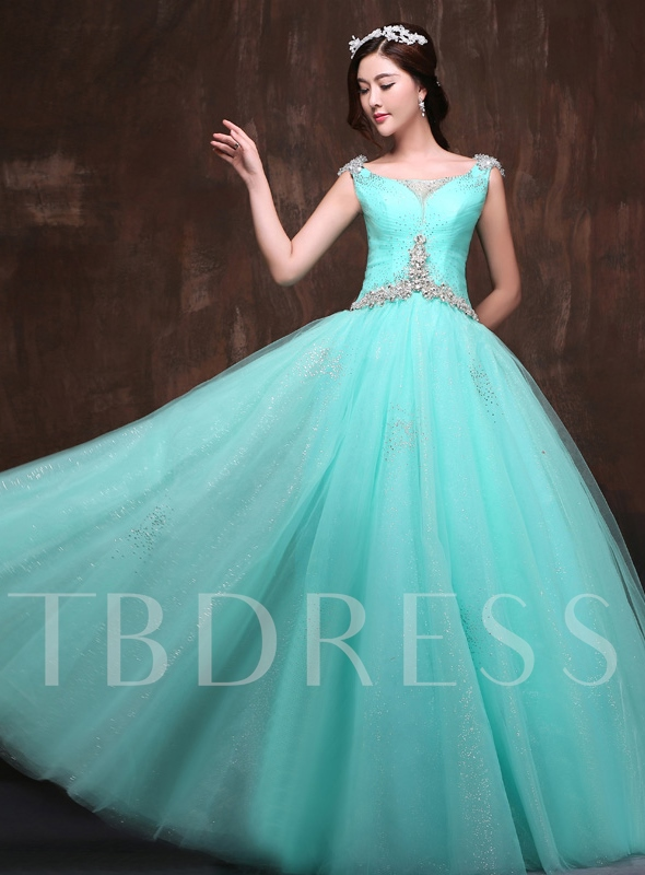 Image of A-Line V-Neck Beadings Rhinestone Quinceanera Dress