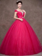 A-Line Beaded Rhinestone Quinceanera Dress