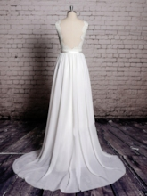 Chiffon Backless Lace Beach Wedding Dress