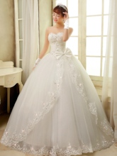 Bowknot Appliques Beading Ball Gown Wedding Dress
