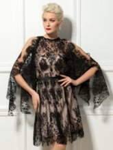 Black Knee-Length Lace Cocktail Dress with Sleeves