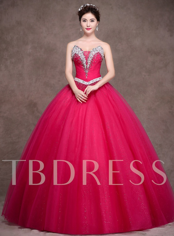 Image of A-Line Strapless Beadings Rhinestone Quinceanera Dress