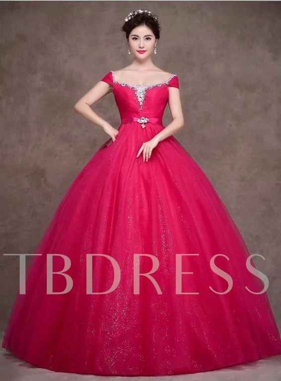 Image of A-Line Beaded Rhinestone Quinceanera Dress