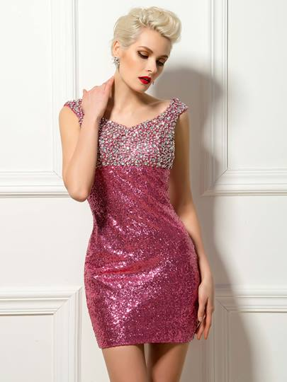 V-Neck Beaded Sequin Cocktail Dress