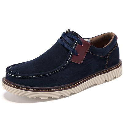Solid Color Lace-Up Quilted Men's Derbies