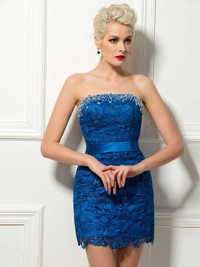 Column Strapless Lace Beading Mini Cocktail Dress