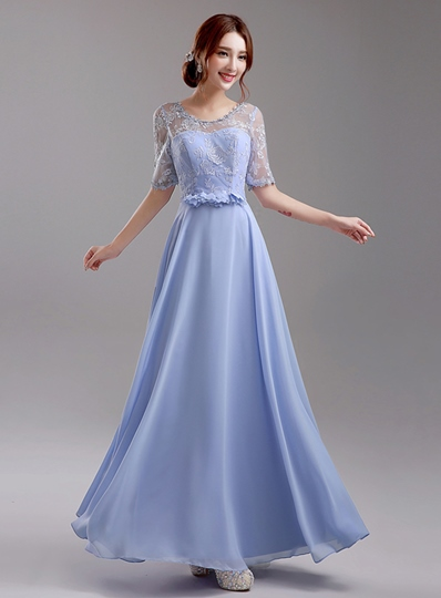 A-Line Scoop Applique Lace-Up Bridesmaid Dress