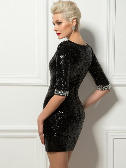 Sheath Bateau Rhinestone Sequins Mini Cocktail Dress
