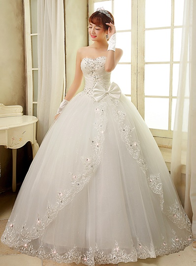 Bowknot Appliques Beading Ball Gown Wedding Dress Bowknot Appliques Beading Ball Gown Wedding Dress