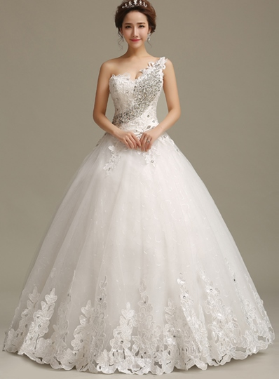 One-Shoulder Ball Gown Appliques Wedding Dress