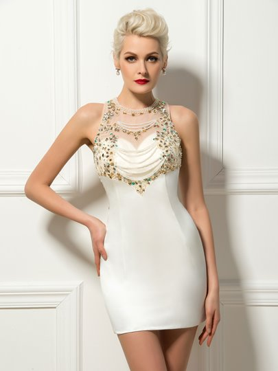 Beadings Jewel Neck Column Short Cocktail Dress