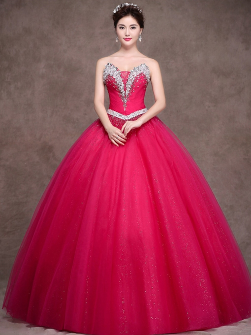A-Line Strapless Beadings Rhinestone Quinceanera Dress