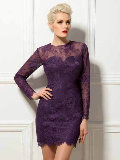 Lace Long Sleeves Short/Mini Length Sheath Cocktail Dress