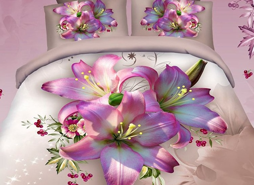 Flower Butiful 4-Piece 3D Bedding Sets/Duvet Covers