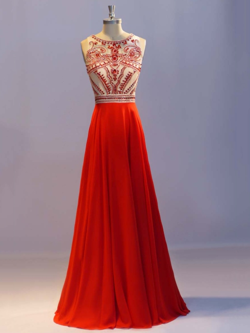 Scoop Neck Rhinestone Beading Red Prom Dress