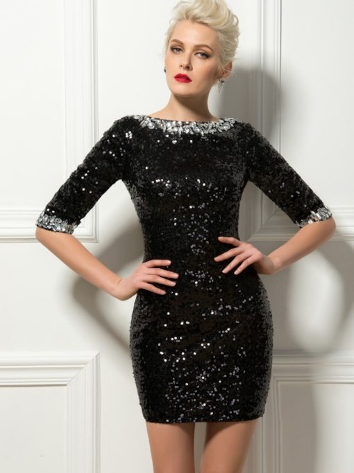 Sheath Rhinestone Sequins Black Cocktail Dress