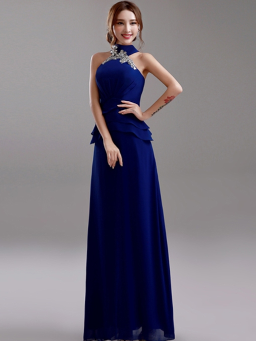 A-Line Halter Beaded Bridesmaid Dress