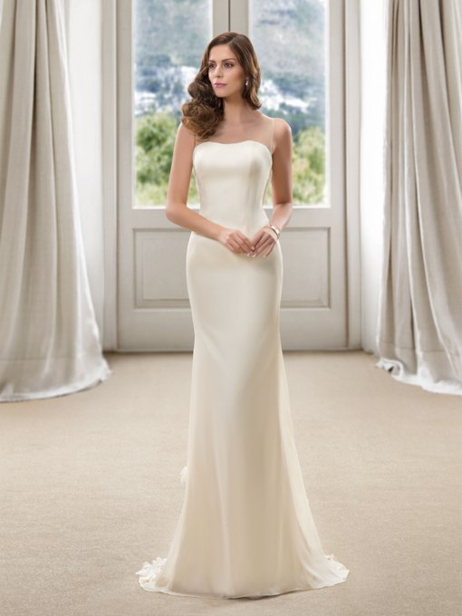 Strapless Floor Length Sheath Plus Size Color Wedding Dress