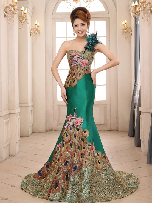 Mermaid One-Shoulder Court Train Evening Dress