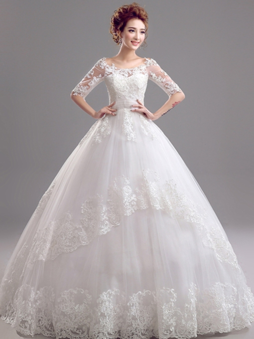 Bateau Ball Gown Half Sleeves Lace Wedding Dress