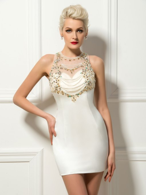 Beading Jewel Neck Column Cocktail Dress